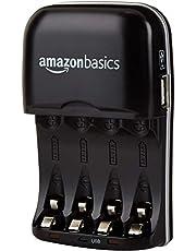 AmazonBasics Batterieladegerät für Ni-MH AA / AAA Akkus und USB Geräte