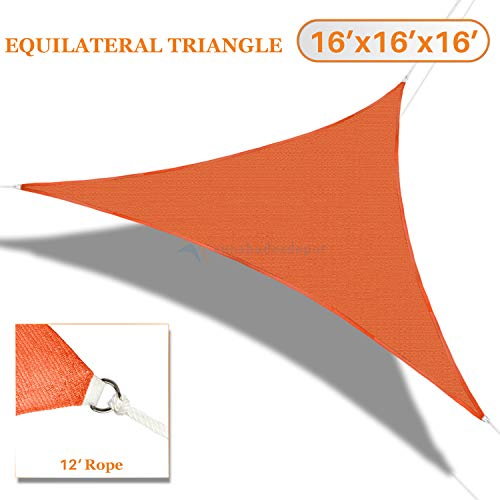 TANG Sunshades Depot 16'x16'x16' Sun Shade Sail 180 GSM Equilateral Triangle Permeable Canopy Orange CustomSize Available Patio Garden Preschool Kindergarten Playground Outdoor Facility Activities