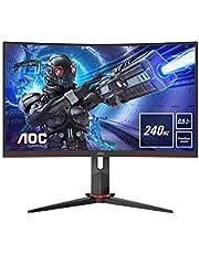 AOC Gaming 27G2ZU 68 cm (27 tum) böjd skärm (FHD, HDMI, DisplayPort, USB-hubb, FreeSync, 0,5 ms svarstid (MPRT), 240 Hz, 1920 x 1080) svart/röd