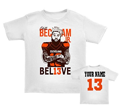 Odell Beckham Jr. fan tshirt, Toddler, youth and baby sizes t-shirts, Believe in #13 Cleveland football fans, option to custom personalize the back, Cleveland football fans