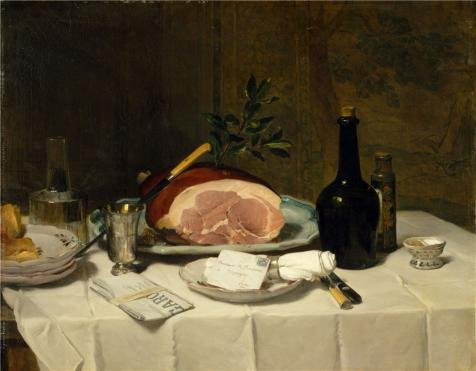 The High Quality Polyster Canvas Of Oil Painting 'Philippe Rousseau-Still Life With Ham,1870' ,size: 10x13 Inch / 25x33 Cm ,this High Quality Art Decorative Prints On Canvas Is Fit For Home Theater Gallery Art And Home Decor And (Chandelier Ham)