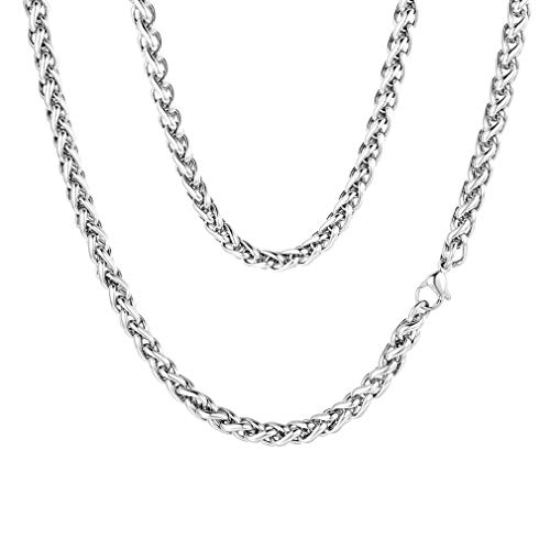 (FaithHeart 3 MM Twisted Spiga Wheat Chain Necklace, 22 Inches Stainless Steel Daily Chains for Men/Women (with Gift Box))