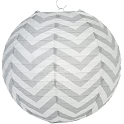 PaperLanternStore.com Gray Chevron Paper Lantern, Hanging Decoration