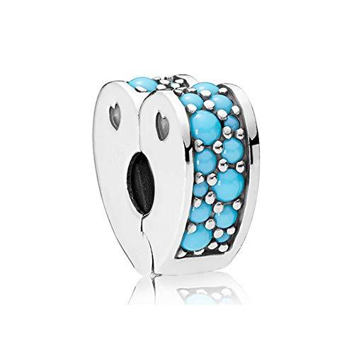 Romántico Amor Arcs Of Love Clip Charm Cubic Zirconia Silver Bead fits Pandora Bracelet (bule)