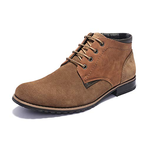 Bruno Marc Men's Adam_H2 TAN Suede Leather Classic Oxford Chukka Ankle Boots Size 10.5 M US