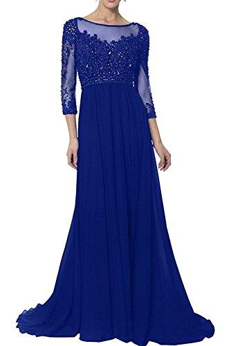 Neu Charmant Royal Brautmutterkleider Damen Blau Abendkleider A linie 2018 Festlichkleider Bodenlang Langarm Promkleider Rock rq7rUEYx