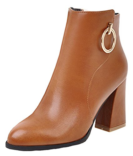 Simple SHOWHOW Toe Ankle Zipper Women's Boot Brown Office Shoes Side Pointed r5xwYrqSaU
