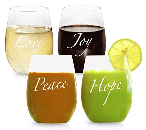 STEMLESS PLASTIC WINE GLASSES. BPA-Free. Dishwasher Safe. Tritan. Unbreakable. 16oz Set of 4. Beverage & wine glasses with sayings...LOVE ~ JOY ~ PEACE ~ HOPE. Gift Box (Wine Glass Dishwasher Safe compare prices)