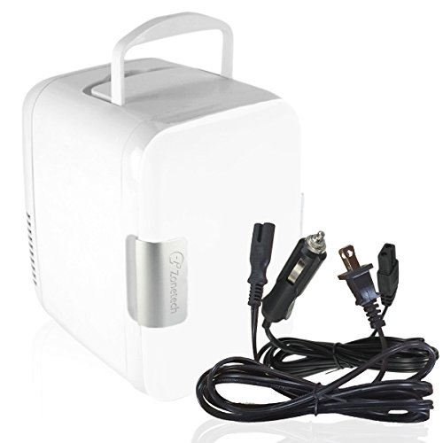 Ac Refrigerator (Zone Tech Car Cooling and Warming Mini Fridge - 2-in-1 White Premium Quality Portable Thermoelectric System with AC/DC and USB Adapters)