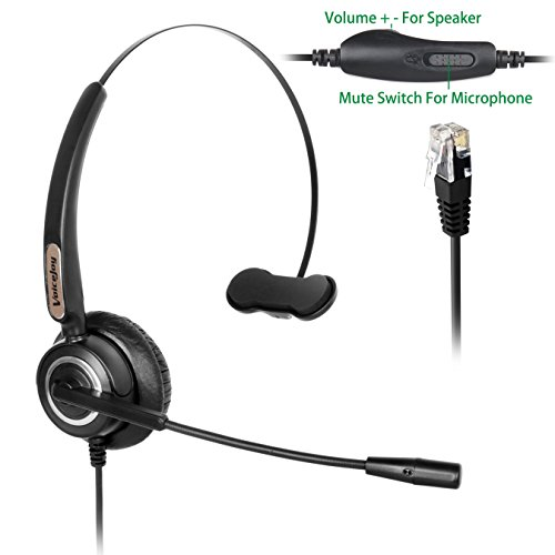 Adjustable Volume+Mute Switch+Telephone Headset Monaural with Noise Canceling Mic for Yealink All Models T22P T26P T28P Avaya 1608 1616 9608G 9611G 9620 9630 9641G Grandstream Panasonic KXT IP Phones