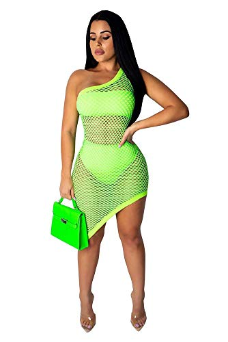 - Kafiloe 3 Pieces Swimwear for Women Bandeau Top + Bikini Bottom + Mesh See Through Cover Up Dress Light Green 2XL