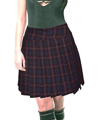 Blue-ish Burgundy White Schoolgirl Tartan Plaid Pleated Plus Size Skirt Stirling Long