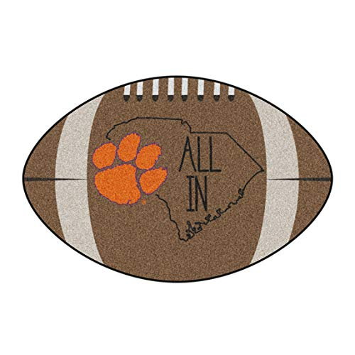 (NCAA Clemson University Tigers Football Shaped Mat Area Rug)