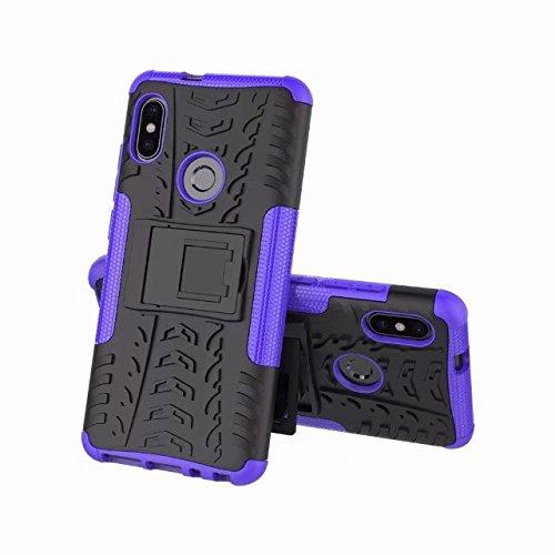 GR para Xiaomi Mi 6X / Redmi Note 5 Pro (6.0 pulgadas) Hyun Pattern Dual Layer Hybrid Armor Kickstand 2 en 1 Funda a prueba de golpes ( Color : Purple ) Purple