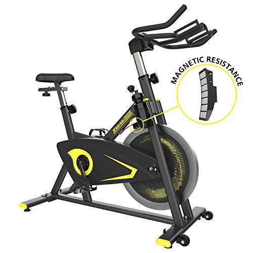 XGEAR Exercise Bike, Magnetic Resistant Spin Bike, Belt Drive Indoor Cycling Bike, Heavy Chromed Flywheel, Heart Rate Sensor Stationary Bike for Home Cardio Workout Bike Training