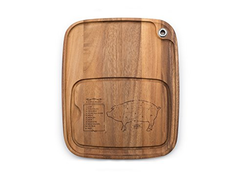 Ironwood Gourmet 28101E334 Steak Barbecue Plate, Acacia Wood, Pig Engraving (Pig Cutting Wood Board)