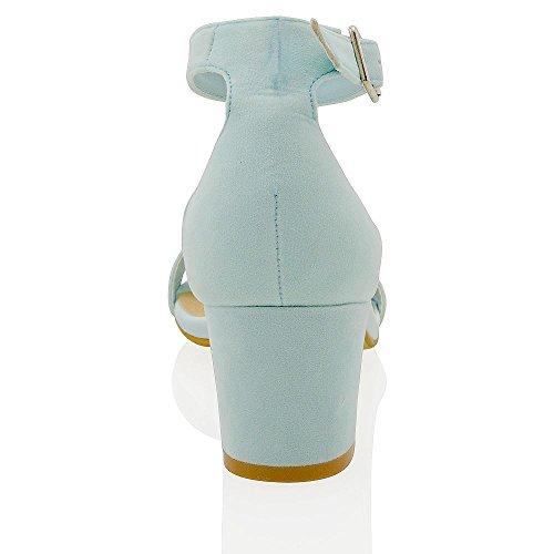 Essex Glam Cinturino Alla Caviglia Con Tacco Basso Sintetico Sandali Con Cinturino In Ecopelle Color Blu Pallido