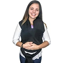 Baby Wrap Carrier by Valencia Babys 0-36 Month Hands Free, Breathable Soft and Stretchy Baby Carrier Wrap, Safe & Secure for Newborns, Babies and Infants (Black)