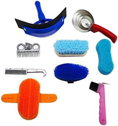 MQEIANG 10pcs Limpieza Caballo Set Caballo de Belleza Juego de Herramientas Mane Tail Peine de Masaje Curry Cepillo de Zapatos Sudor Escoba Curry Comb Lavadora (Color : Multi)