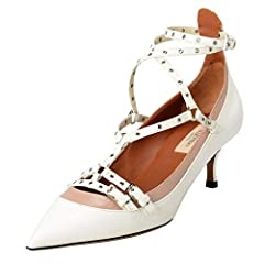 Valentino Women's Leather Two Tones Ankle Strap Kitten Heels Shoes