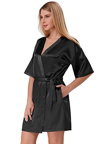 Women Wedding Robes Half Sleeve Mid Thigh Dressing Gown Black Size L ZE51-1 - Black Dressing Gown
