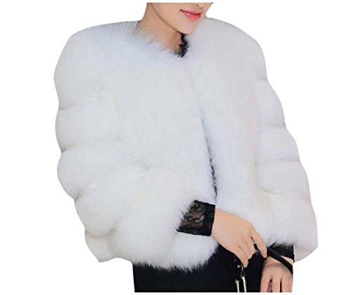 Abetteric Women Custom Fit Pure Color Faux Fur Winter Warm Tops Outwear White M by Abetteric