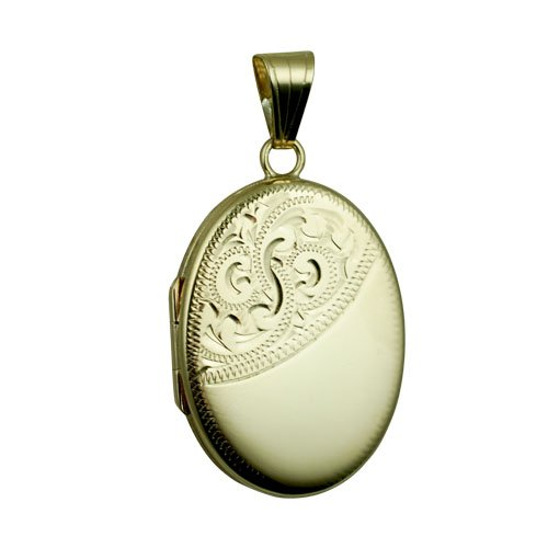 Médaillon 26x19mm oval en or Jaune 375/1000 plat et gravé à la main