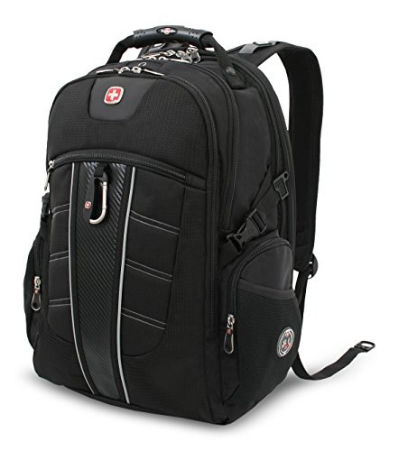 Swiss Gear SA1753 Black TSA Friendly ScanSmart Laptop Backpack - Fits most 15 Inch Laptops and (Mobile Notebook Security Cart)