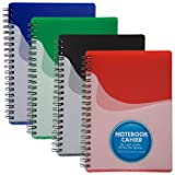Set of 4 Spiral-Bound Notebooks with Pocket