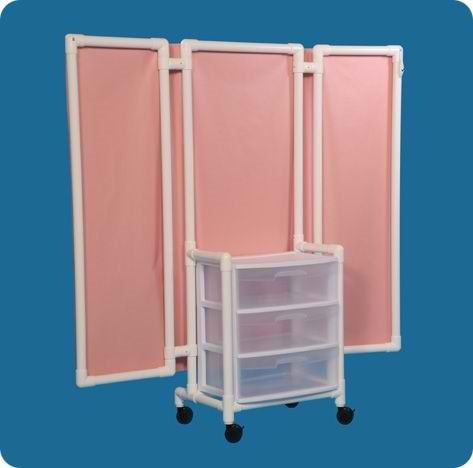 Privacy Screen with Drawers - WPS53WDW - 53 Inch High - White Cover