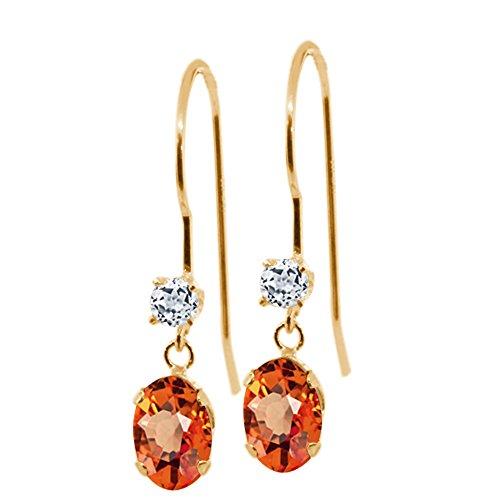 (Gem Stone King 1.26 Ct Oval Orange Sapphire White Topaz 14K Yellow Gold Earrings)