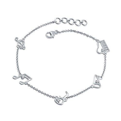 La Joya 0.10ct (IJ I2-I3) Round White Diamond Sterling Silver Musical Note Piano Guitar harm Link Bracelet for Women Teens