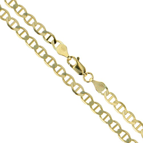 - 10k Yellow Gold Solid Mariner Chain Marina Anchor Link 3mm Necklace 24