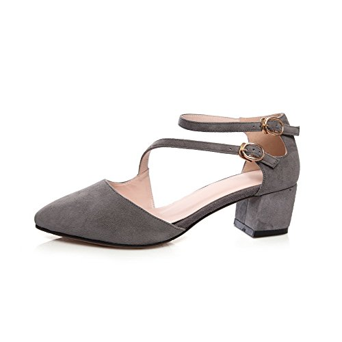 Buckle Closed Solid Suede AmoonyFashion Sandals Womens Imitated Kitten Lightgray Toe Heels SxAqU