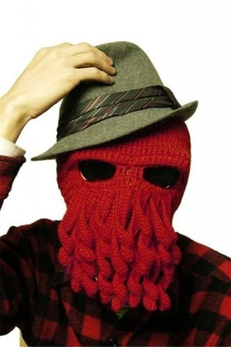 Impressed Look! Octopus Hat Squid Tentacle Ski Mask Balaclava Windproof Warm Wool Knit Cosplay Winter Cthulhu Beanie Cap Full Facemask for Outdoor Sports Cycling Riding Mask Headgear Headwear (Homemade Scary Halloween Mask)