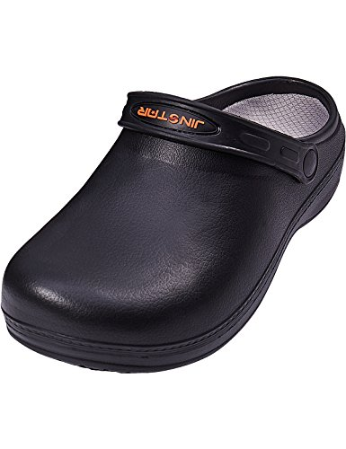 JinStar Unisex Black Non Slip Chef Shoes Slip Resistant Clogs For Men Women (10 D(M) US) by JinStar