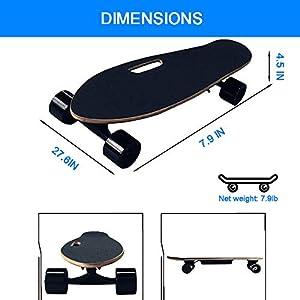 AUNLPB Planche à roulettes électrique avec télécommande, complète Mini Cruiser Skateboard, Conçu pour Les débutants et électricité du banlieusards pour Les Filles Enfants Garçons Ados Jeunes Adultes