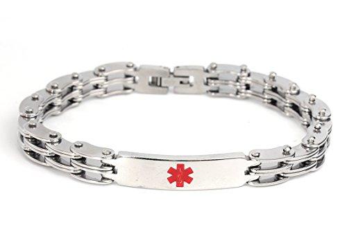 Engravable Link Bracelet (Medical Alert 316L Stainless Steel Link Unisex Bracelet, Blank Engravable ID Tag, 8.5 Inch (Style 1))