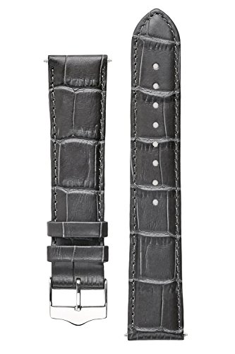 Signature Tropico in Dark Gray 20 mm extra-long watch band. Replacement watch strap. Genuine leather. Steel - Watch Band Gray