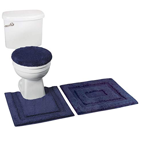 mDesign Soft Microfiber Polyester Bathroom Spa Rug Set - Water Absorbent, Machine Washable - Includes Plush Non-Slip Rectangular Accent Rug, Contour Mat, Toilet Lid Cover - Set of 3 - Navy Blue