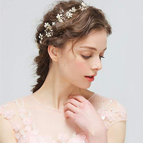 A Gorgeous Retro Long Pearl Crystal Bridal Headdress Bride Bridesmaid Crown Tiara Diadem Wedding Turban Headband Hair Band Leaves Bouquet Jewelry Accessories