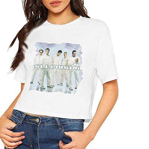 DONGLY Women's Exposed Umbilical Short-Sleeved T-Shirt Backstreet Boys Millennium Logo Nordic Winter Personality Wild White XL