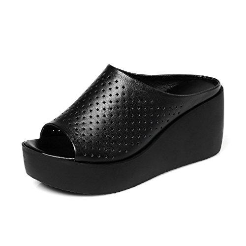 ZPPZZP Ms sandali pantofole a tacco alto spessa pendenza con trascinare 38EU nero