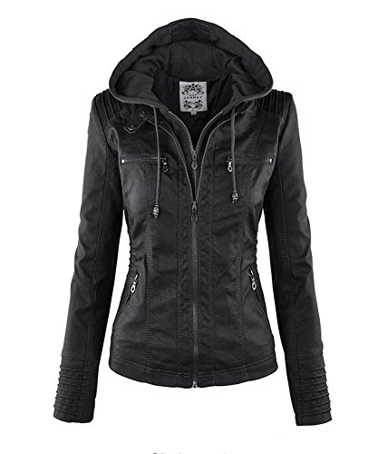 VANGULL Women Ladies Zipper Slim Biker Motorcycle PU Leather Jackets Punk Rock Coats (4XL, Black 2)