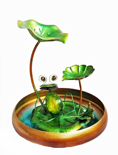 Continental Art Center CAC40178 Frog Fountain, 9.84 by 9.84 by 16.14-Inch - Frog Solar Water Fountain