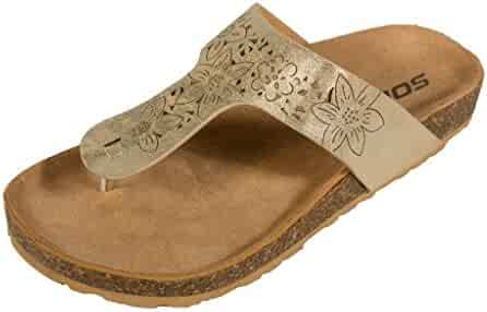3603e3c4856be1 Soda Kid s Birkie Fusion-2 Thong Flower Cut Flat Sandal in Gold Cracked  Leatherette