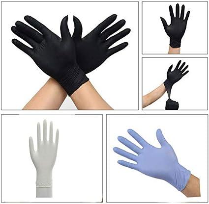 XL Noir DJLHN100pcs Gants en Caoutchouc jetables Examen m/édical Nettoyage Domestique en Nitrile m/écanique Gants de Laboratoire Confortables antistatiques