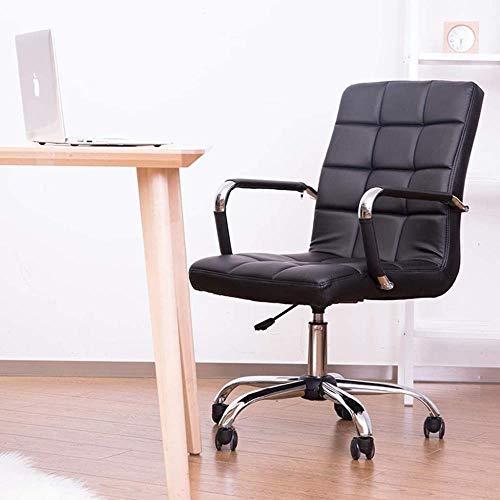 JXLBB Ergonomisk verkställande kontorsstol, justerbar svängbar PU skrivbordsstol med krombas, datorstol med kromarmstöd – svart