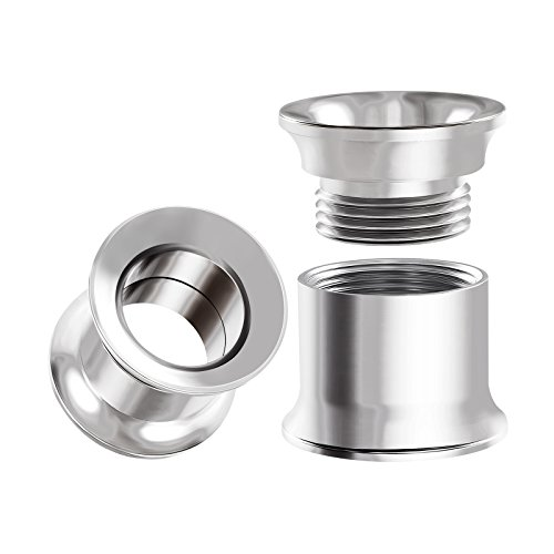BIG GAUGES Pair Internal Screw Surgical Steel 00g Gauge 10mm Double Flared Piercing Jewelry Ear Tunnel Earring Lobe Stretcher BG0004