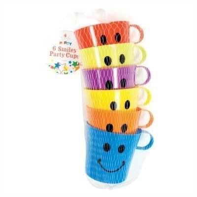 The Home Fusion Company 6 X Smiley Face Cups Children'S Kids Plastic Party Holidays Garden Beach Mugs (Home And Garden Mug)